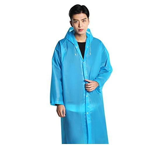Zhaoyangeng mode Eva dames mannen regenjas verdikt waterdichte poncho duidelijke volwassen mantel transparante Camping regenpak met capuchon - blauw - 65 x 115 cm