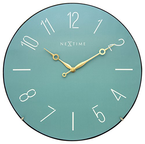 NeXtime Big Wall Clock TRENDY Dome, Very Silent, Round, Turquoise, ø 35 cm