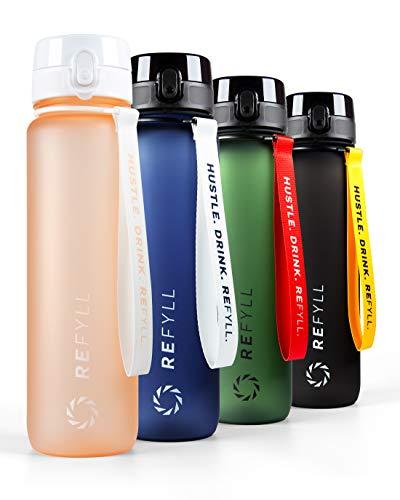 REFYLL Butelka na napoje Go 1 l I butelka sportowa 1000 ml - wolna od BPA I szczelna butelka do fitnessu z wkładem na owoce I idealna butelka na napoje, sport, uniwersytet, do pracy, na siłownię (Peach)