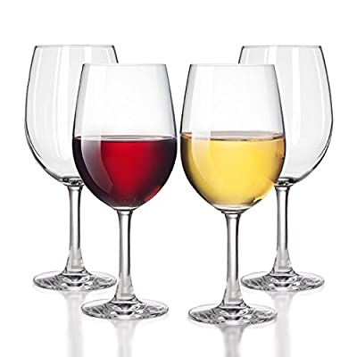 Unbreakable White/Red Wine glasses Smooth Rim - 100% Tritan Dishwasher-safe, shatterproof plastic wine glasses - By TaZa Design -Set of 4 (20 oz)