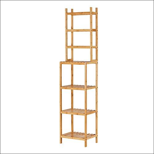 Regal Bambus Badregal mit 7 Ablagen Bambusregal Badständer Küchenregal Standregal Bücherregal Aufbewahrungsregal Badezimmerregal Regale
