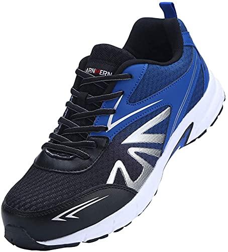 [LARNMERN] 安全靴 メンズ レディース スニーカー 作業靴 おしゃれ 超軽量 セフティシューズ メッシュ スニーカー つま先保護 防刺 通気性 衝撃吸収 耐久性 通動 男女兼用(黒青、45)