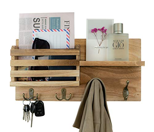 Wall Mounted Key Mail Holder Organizer Wooden Mail Sorter with Coat Key Hooks and A Floating Shelf Rustic Home Decor for Entryway, Mudroom, Hallway