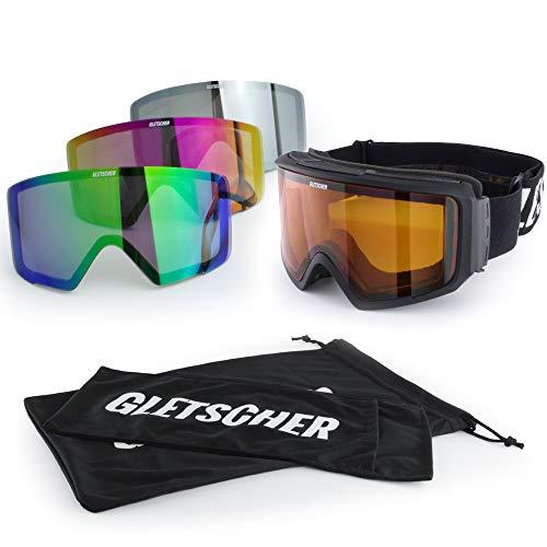 Gletscher Set Skibril frame wisselschijf antifog verspiegeld slecht weer