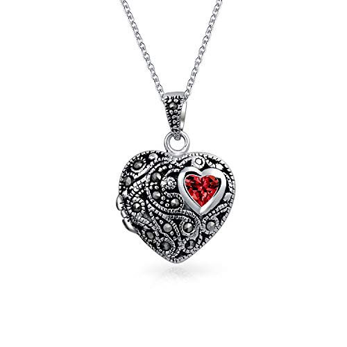 Personalized Genuine Red Garnet Vintage Style Filigree Aromatherapy Essential Oil Perfume Diffuser Heart Shape Locket Necklace For Women Oxidized .925 Sterling Silver Custom Engrave