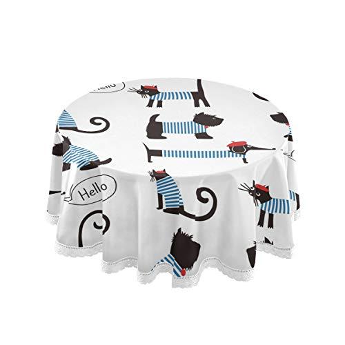 Mnsruu Tischdecke, rund, französischer Dackel, gestreift, 152,4 cm, dekorative Spitze, Makramee für Buffet-Tisch, Party, Urlaub, Abendessen
