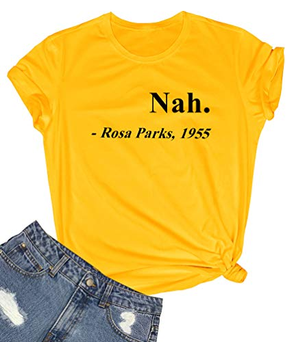 ROSEPARK Women Graphic Funny Cute T Shirts Yellow Small