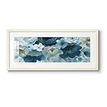 Abstract Wall Art Wall Décor White Framed Animals Flowers Coastal Geometric and Motivational Quotes Ready to Hang - Blue on Blue 12X28