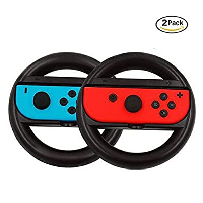 Nintendo Switch Steering Wheel Controller, LeSB Joy-Con Racing Wheel for Nintendo Switch (Black, 2 Pack)