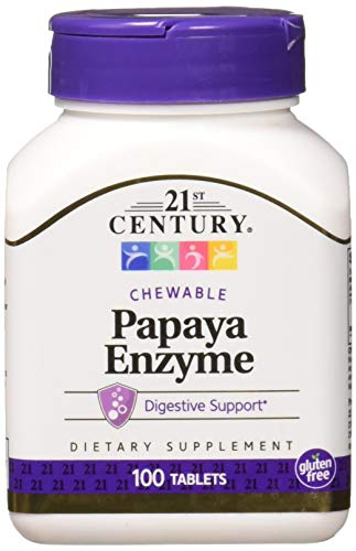 21st Century Papaya Enzyme Chewable Tablets, 100 Count