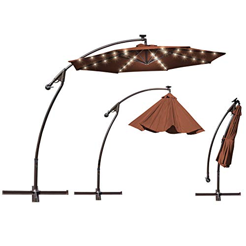 BenefitUSA 9' Cantilever Patio Umbrella 40 LED Light Outdoor Garden Sunshade (Tan)