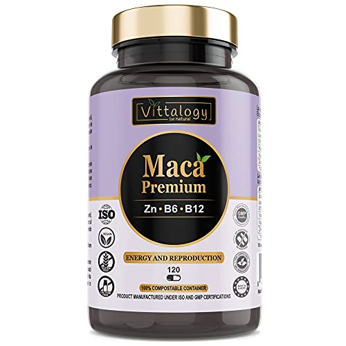 Vittalogy Maca Premium. Maca Andina Pura 4000 mg Con Vitaminas B6 Y B12 Y Zinc. Raíz De Maca Peruana. Vigorizante. 120 Cápsulas.
