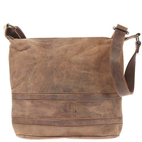 LECONI Umhängetasche Schultertasche Damentasche natur Ledertasche Vintage-Look Handtasche Damen Leder 29x27x10cm braun LE3076-vin