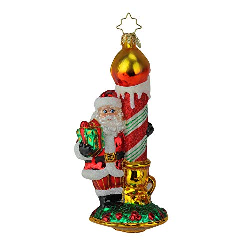 Christopher Radko Hand-Crafted European Glass Christmas Decorative Figural Ornament, Light Your Holiday
