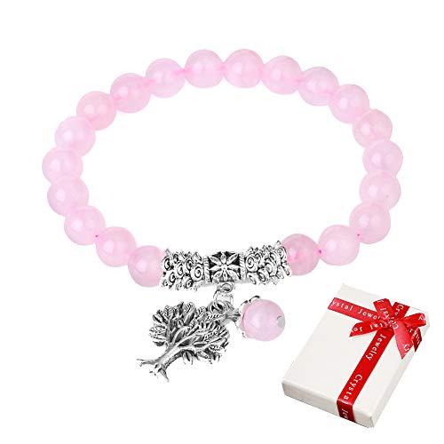 Árbol de la vida Pulsera de cuarzo rosa para mujer Mujer, piedras preciosas Joyas de moda Cristal de curación natural Pulseras de piedra natales con colgante para yoga Regalos para el día de la madre