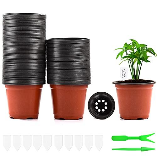 Herefun 100 Stück Pflanztöpfe Kunststoff, 10cm Blumentöpf Plastik mit 10 Pflanzenmarker + 2 Sämlingswerkzeuge, Saattöpfe Rund Anzuchttöpfe Plastik Pflanzgefäß mit Bodenlöchern zur Anzucht und Aussaat