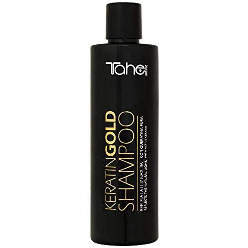 Tahe Power Gold Champú Sin Sulfatos de Keratina Pura Ultraligero y Sedoso con Aporte Extra de Suavidad y Volumen, 300 ml