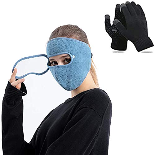AMZBEST Full Face Protection Headgear, Anti-Fog Dust-Proof, Warm Practical Headgear with Removable Glasses, Fleece Thermal Balaclava Face Mas_k for Men Women Cold Weather (Blau)