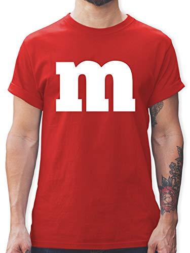 Karneval & Fasching - Gruppen-Kostüm m Aufdruck - M - Rot - mm Shirt - L190 - Tshirt Herren und Männer T-Shirts