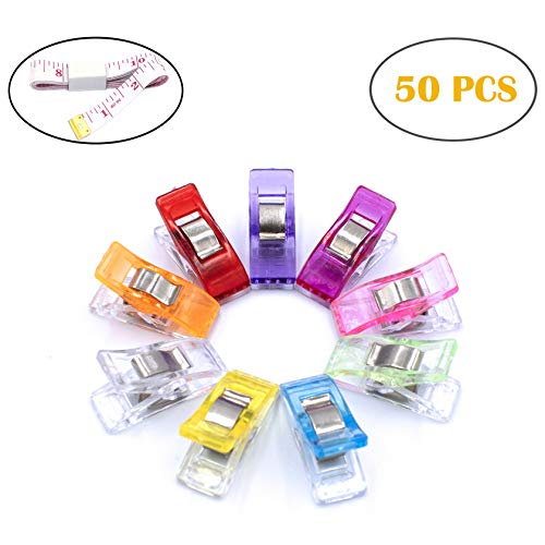 Firefly 50 Pcs Assorted Color Multipurpose Sewing Clips for Craft Clamps Quilting Crafting, Crochet and Knitting