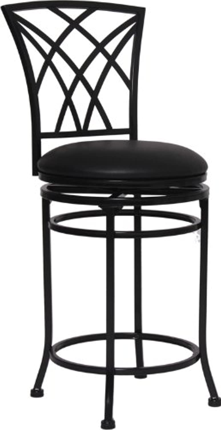 Flash Furniture BS-6160-24-BK-CTR-GG Black Metal Counter Height Stool with Black Leather Swivel Seat, 24-Inch