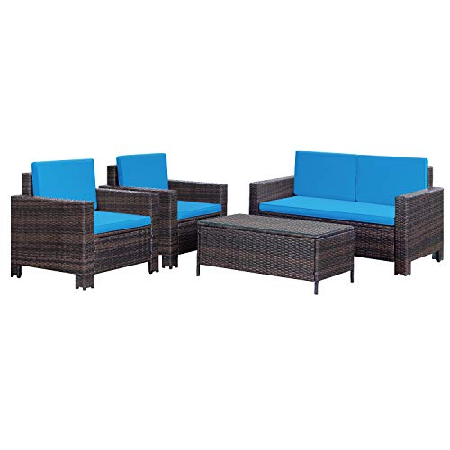 Homall 4 Pieces Outdoor Patio Furniture Sets Rattan Chair Wicker Conversation Sofa Set, Outdoor Indoor Backyard Porch Garden Poolside Balcony Use Furniture (Blue)