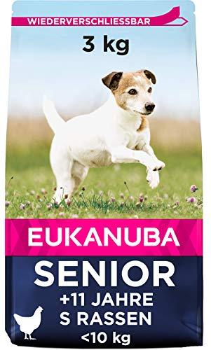 Eukanuba Hundefutter mit frischem Huhn für kleine Rassen, Premium Trockenfutter für Senior Hunde, 3 kg