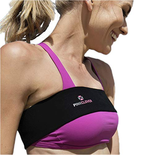 Breast Band, No-Bounce, High Impact Sports Bra Support Band | Post Surgery Bra Strap | Soft, Breathable Fabric Black