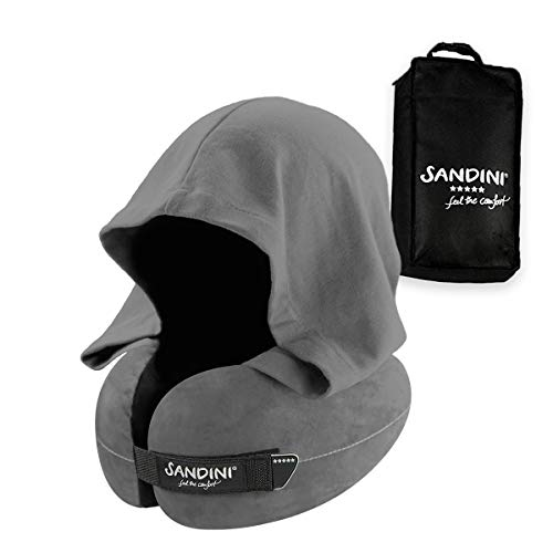 SANDINI TravelFix Hoodie - Premium Ergonomic Travel Pillow from Germany - Real Support for The Head and Neck - Hood for Darkening and Privacy - Machine Washable