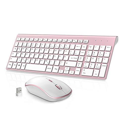 JOYACCESS Funktastatur und Maus,Schnurlose Tastatur und Maus,2.4G Maus Tastatur Set Kabellos,2400 DPI Optische Fließend Leise Ergonomisch Maus for PC/Laptop (Deutsch-QWERTZ Layout)-Rosa und Weiß
