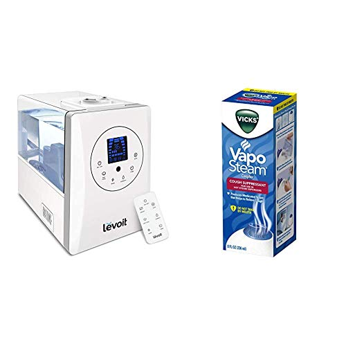 LEVOIT Humidifiers for Large Room Bedroom (6L), Warm and Cool Mist Ultrasonic Air Humidifier for Home & Vicks VapoSteam, 8 Ounce Medicated Vaporizing Liquid with Camphor to Help Relieve Coughing