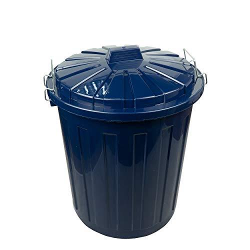 HRB Maxitonne Liter, Tonne aus stabilem Hartplastik, abnehmbarer Deckel mit Metallverschlüssen, geeignet für Wäsche, Spielzeug oder als Mülleimer Küche (Dunkelblau, 23 Liter)