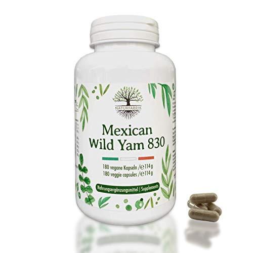 NATURFABRIK® Mexican Wild Yam 830 | ganze Yamswurzel aus Mexiko | 180 vegane Kapseln | 830mg Tagesportion | laborgeprüft | pflanzlich | 3 Monatsvorrat | KEIN EXTRAKT