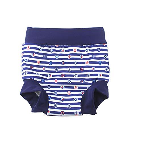 BabyPreg Baby Kind Schwimmen Briefs Abdeckung Windel mit hohen Taille Bauchschutz Badeshorts (Marine Streifen, 2-3 Jahre)