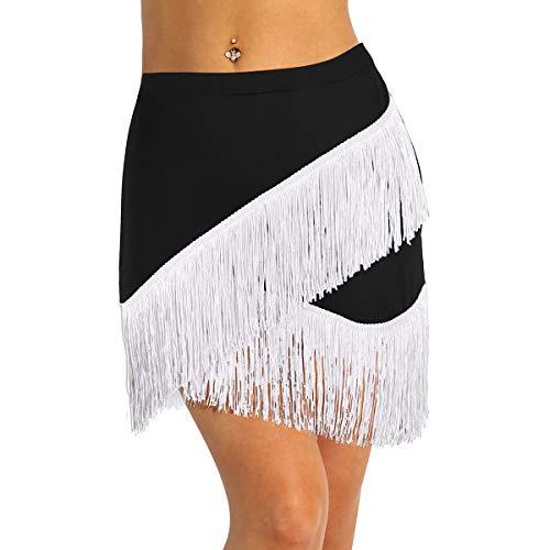 ranrann Falda de Baile Latino Flecos para Mujer Irregular Falda de Danza...