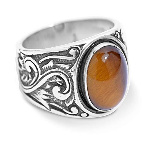 American West Sterling Silver Tiger Eye Gemstone Scroll Leaf Wide Ring Size 9