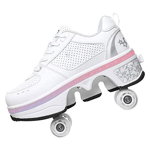 GWYX Zapatos con Ruedas LED, Zapatos De Skate para Mujeres, Hombres, Niños, Niños, Zapatos con Ruedas, Zapatillas con Ruedas, para Regalo Unisex para Principiantes,White-EU40/UK6