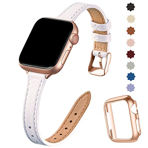 SUNFWR Compatible con correa de reloj Apple de 38 mm, 40 mm, 42 mm, 44 mm, correa de piel auténtica, pulsera delgada y delgada para iWatch Series 6/5/4/3/2/1, SE (42 mm, 44 mm, blanco y rosa).