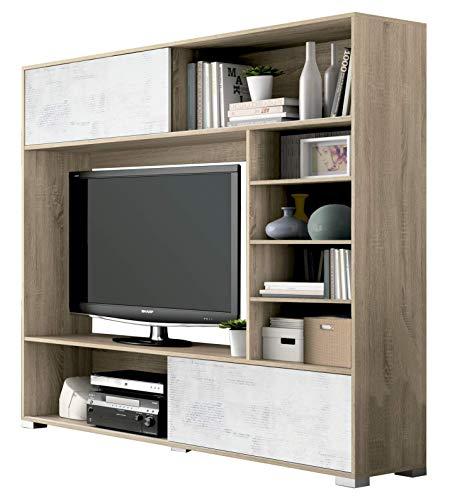 Wohnwand Lyon 802 Eiche Cambrian + Weiß Collage mit Schiebetüren Anbaunwand TV Wand Fernseherschrank 165x170x39cm TV Schrankwand TV Möbel