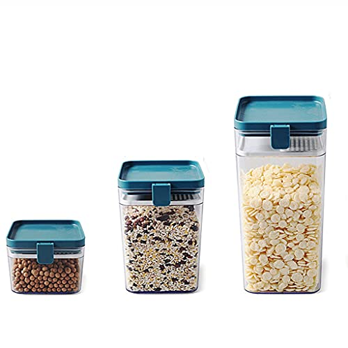 GLLP Juego De Contenedor De Almacenamiento De Alimentos De 3 Piezas Jarra De Almacenamiento De Alimentos De Cocina Tapa Duradera Adecuada para La Etiqueta De Azúcar De Harina De Grano (Color : Blue)