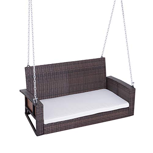 Outsunny 2-Person Wicker Hanging Porch Swing Bench...