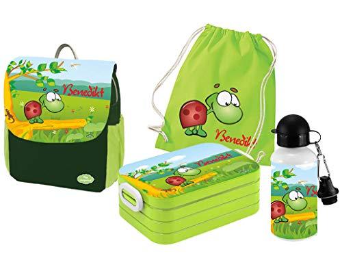 Mein Zwergenland | Personalisertes Kindergartenrucksack-Set | Kinderrucksack mit Name | Lunchbox Maxi mit Name | Turnbeutel aus Baumwolle mit Name | Personalisierte Trinkflasche | Grün | Schildkröte
