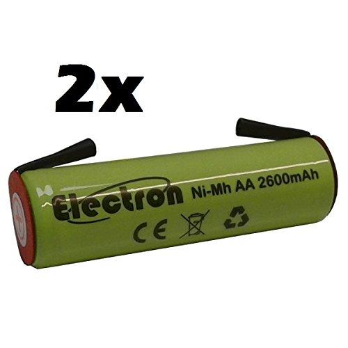 2x Batteria ricaricabile Ni-Mh Stilo AA 1,2V 2600mAh con linguette lamelle terminali a saldare per pacco pacchi batteria