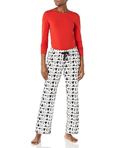 Amazon Essentials Langärmeliges Strickoberteil und leichtes Flanell Pyjama-Set, Weißer Pinguin, M