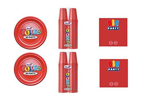 CDC - Kit n°1 Coordinato Monocolore Rosso da tavola per Festa e Party ed Ogni ricorrenza - (30 Piatti, 100 Bicchieri, 50 tovaglioli)
