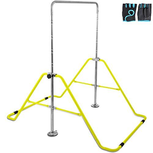 Hopopula Gymnastik Klappstange Horizontale Stange Anpassen Faltbare Ablage Kip Stange Multifunktions Erweiterbare Junior Trainingsstange für Kindern Heimtraining(Gelb)