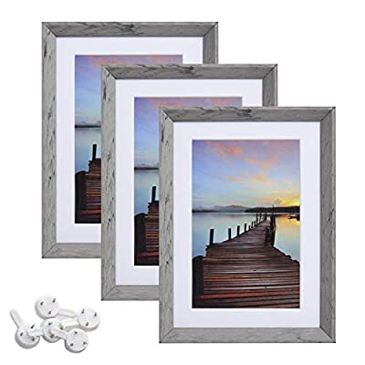 Sindcom 5x7 Picture Frame with High Definition Glass Face, Display Pictures 4x6 with Mat or 5x7 Without Mat, Rustic Photo Frames Collage for Wall or Tabletop Display,Set of 3,Light Grey
