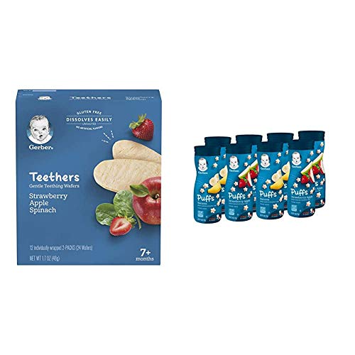 Gerber Teethers Gentle Teething Wafers - Strawberry Apple Spinach, 6 Count & Puffs Cereal Snack, Banana & Strawberry Apple, 8 Count