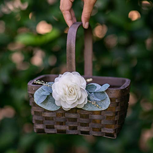 Flower Girl Basket - Wood Wedding Toss Petal Basket - Boho Flower Girl Basket by Ragga Wedding
