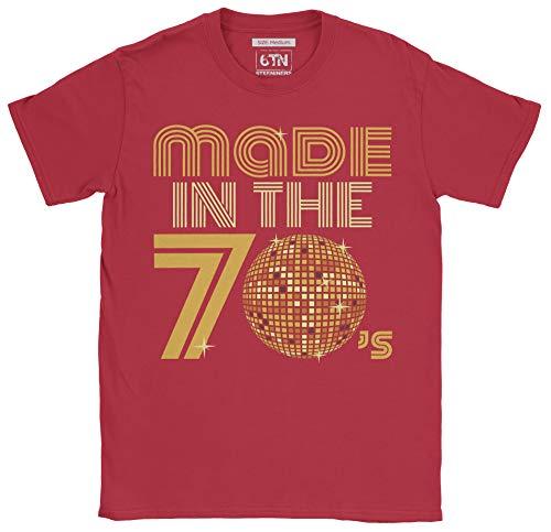 6TN Herren Hergestellt in den 70ern Retro Disco Ball T Shirt (S, Kardinal rot)